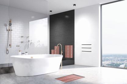 Vloerverwarming 200W/m², wandverwarming & handdoekverwarming in de badkamer